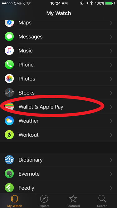 Open Wallet on Apple Watch App