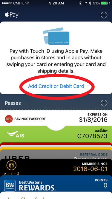 Tap Add Credit or Debit Card