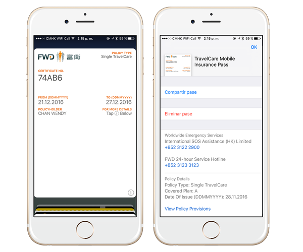 FWD Digital Insurance Policy Mobile Wallet